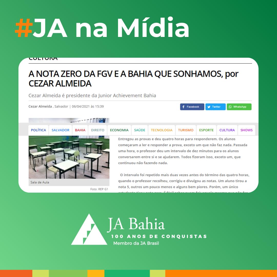 Artigo do nosso Presidente Cezar Almeida no veículo Bahia Já
