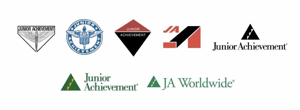 Evolução das logomarcas ao longo dos 102 anos de Junior Achievement no Mundo!